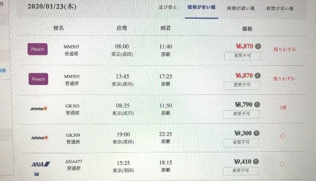 沖縄旅行の航空券