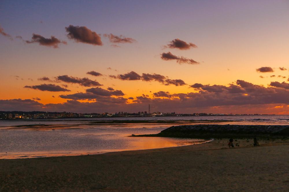 陽が暮れた北谷公園サンセットビーチ