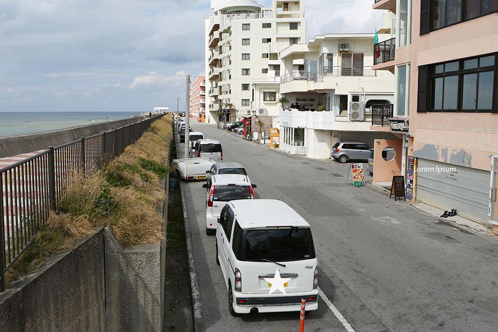 宮城海岸沿いの駐車場