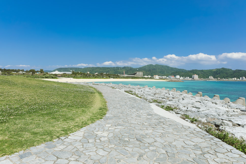芝生がある沖縄のビーチ