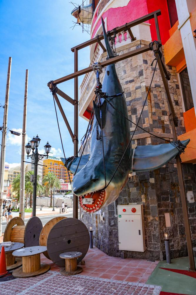 吊るされたサメのオブジェ
