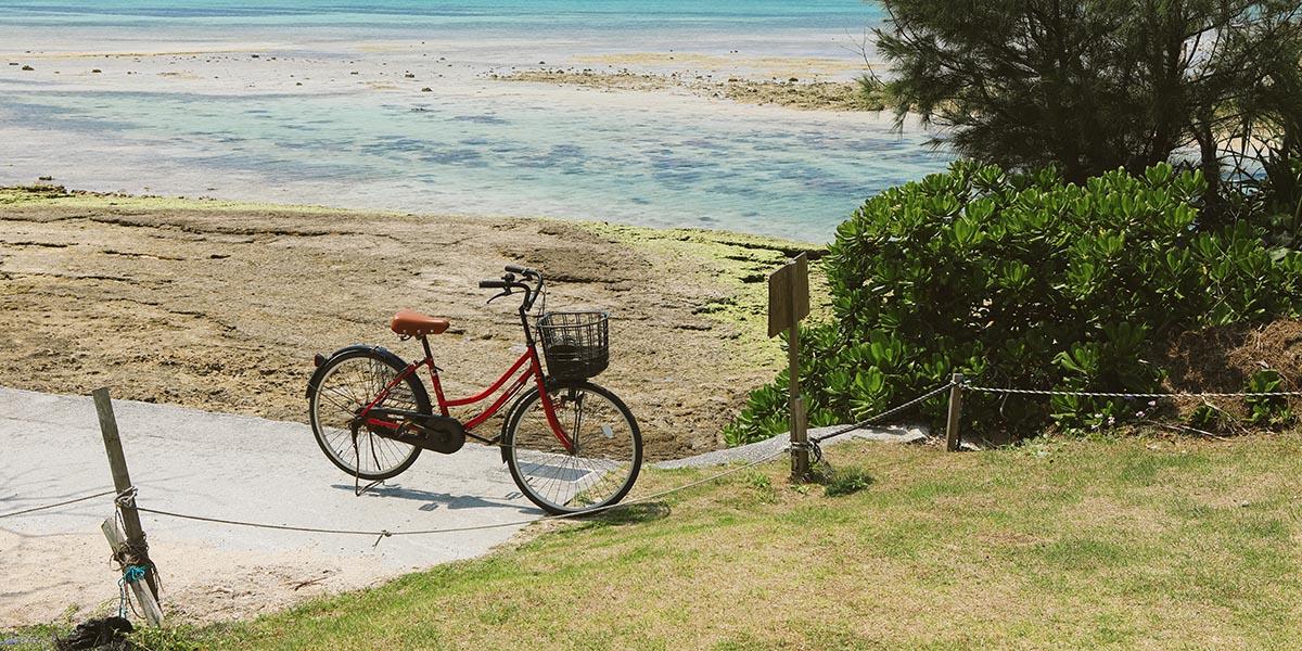 備瀬崎のレンタサイクル駐車スペース