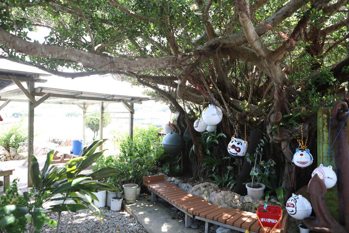 テラス席の木