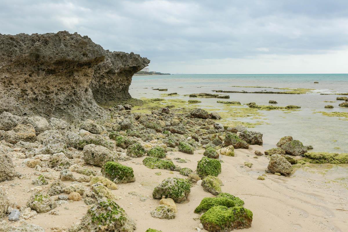 ゴツゴツした岩が転がる海